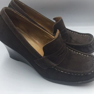 Michael Kors Brown Suede Wedge Loafers